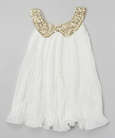 Blossom Couture White & Gold Sequin Collar Swing Dress - Toddler ...
