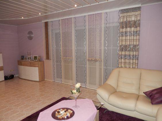 Wohnzimmer Schiebevorhang mit dominanten Beigetönen -    www