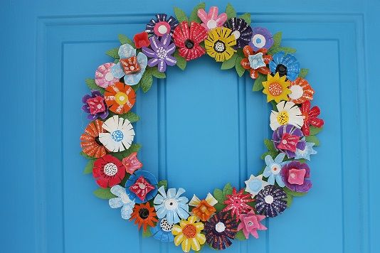 Flower spring wreath I made today for my front door all made out of egg cartons!!