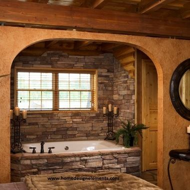 Window pictures and built ins on pinterest for Log home bathroom ideas