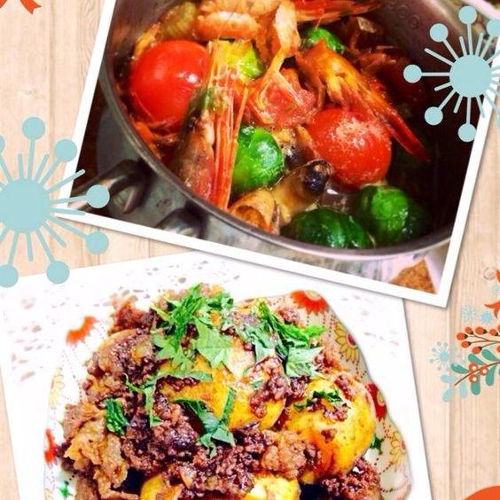 私もアヒージョ大好物ですー! - 7件のもぐもぐ - エビのアヒージョ、肉じゃがのこっ照り煮                 Gambas al ajillo & Ama-Kara potato with beef by Yuuki.M
