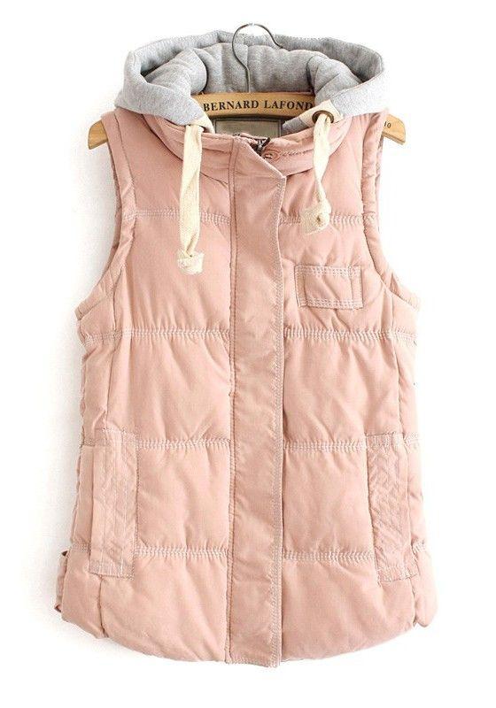 / Pink Zipper Collar With Hat Thick Cotton Vest: Blush Vest, Dream Closet, Cotton Vest, Outfit, Puffer Vest, Fall Winter, Puffy Vest