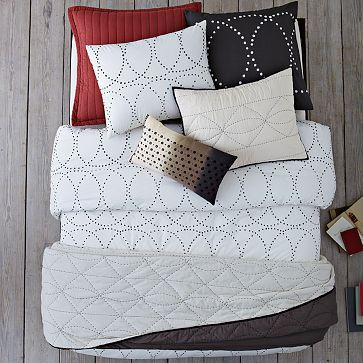 Layered Bed Looks - In Stitches #WestElm - loving the duvet cover with some blue pillows and throw?