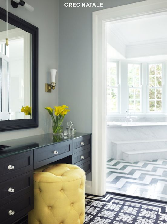 Ottomans vanities and chic on pinterest for Master bathroom ottoman