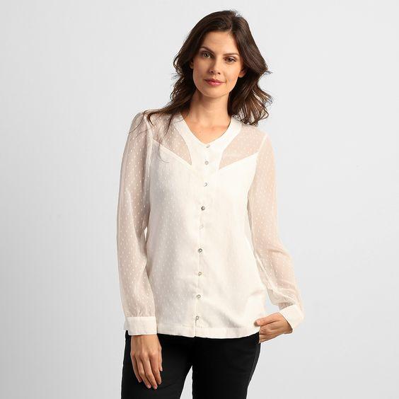 Camisa TVZ Transparente c/ Devore de Seda Off White   Zattini