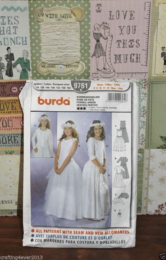 BURDA 9761 SEWING PATTERN GIRLS FORMAL WEDDING DRESSES SIZE 8 -14 YEARS EX USED