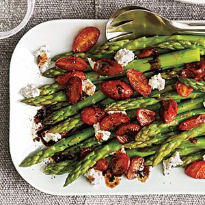 Cooking light mag: asparagus with balsamic tomatoes goat cheese and almonds