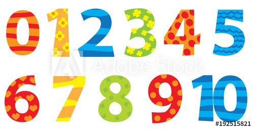 Nice Colorful Cartoon Numbers Set For Children 1 10 Children