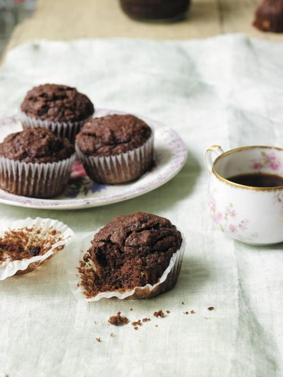 Fudgy Chocolate Banana Flax Muffins Recipe | http://aol.it/19N6k0D