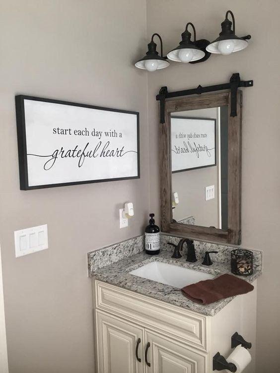 24 New Bathroom Wall Art And Decor In 2020 Bathroom Mirror Small Bathroom Diy Bathroom Design Small
