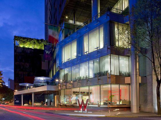 W Mexico City—Exterior Facade. Cosmopolitan night at the City.