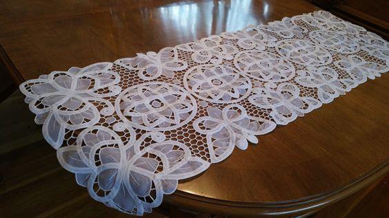 Vintage Battenburg Lace Table Runner Dresser Scarf White Cotton Blend 15 X 44 Oblong Decor Shabby Chic Cottage Pinterest