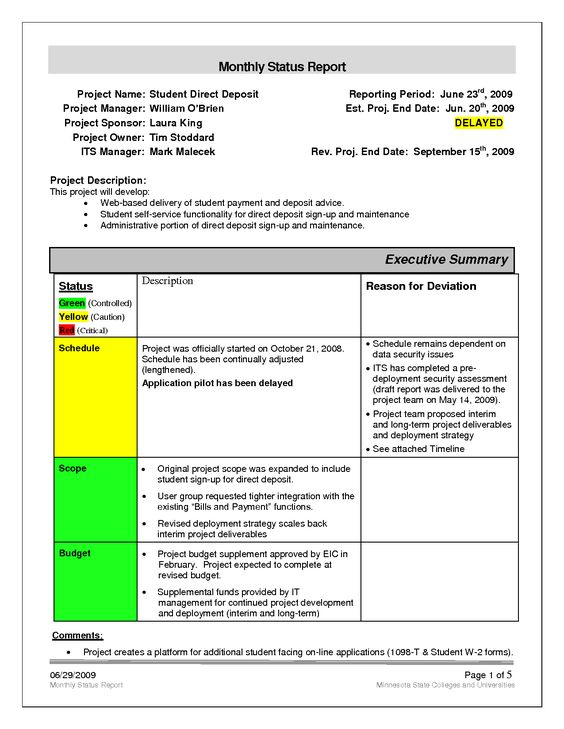 Monthly Project Report Template. Monthly Project Status Report