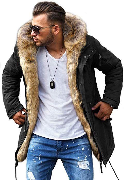 Rello Reese Winter Parka Mit Fell Imitat Jacke Mantel E 7250 Schwarz Xl Amazon De Bekleidung Parka Mit Fell Manner Outfit Mantel