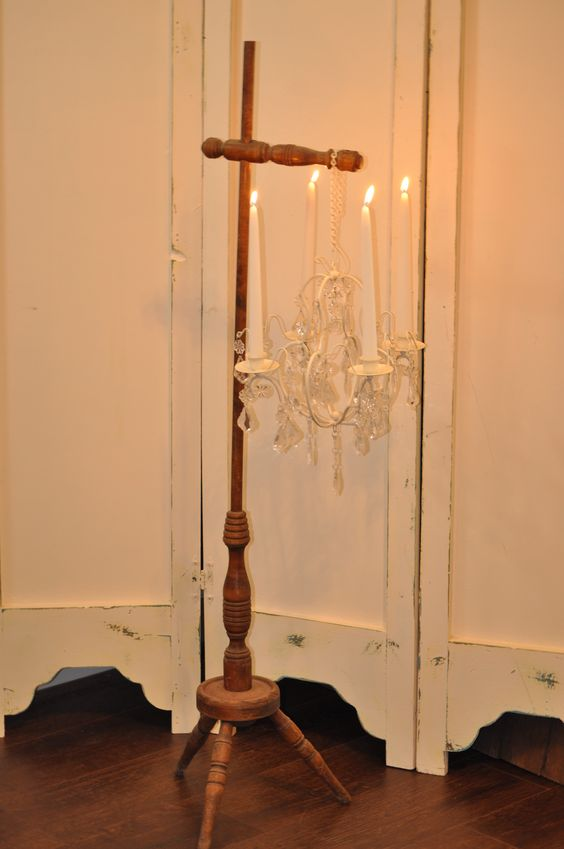 Wooden lamp stand.  Can be used to hang flowers, a chandelier, signs and much more.  Two Monkeys Vintage is middle Tennessee's place for unique vintage treasures for your wedding or other special event.