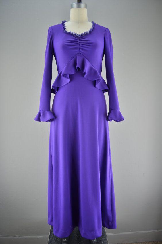 1970s purple maxi dress