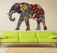 Imagen en vinilo decorativo elefante estampado