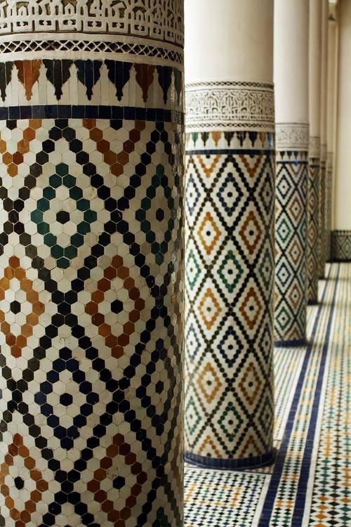 Moroccan Tiled Pillars With Stucco Sculptures Moroccan
