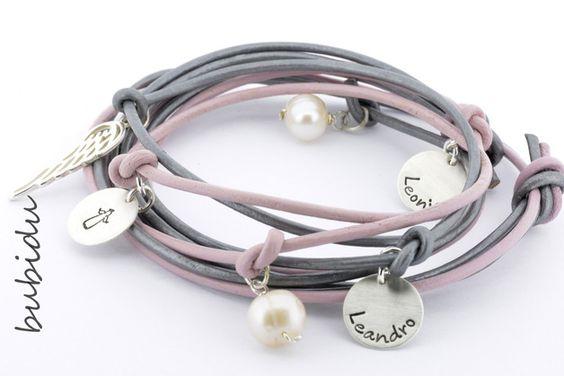 Namensarmbänder - 925 Silber Armband Gravur, Familienarmband Namen - ein…