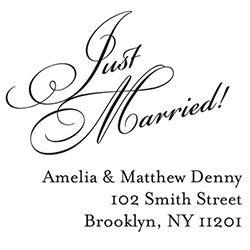 Just Married Diagonal Script Custom Stamp - PS design