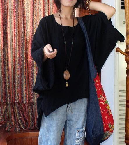 Women Original Design Retro Double Texture Cotton Batwing Sleeve Knit Big Cuff New Vintage Hem Leisure Literature Top Shirt