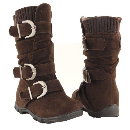 Amazon.com: BROWN Toddler Youth Girls' Faux Suede Knee High Buckle Flat Boots: Shoes