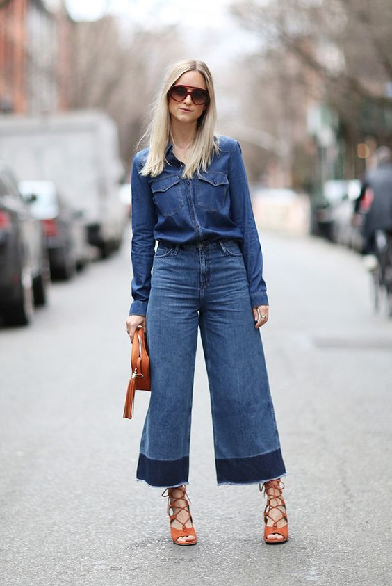 spring / summer - street style - boho chic style - beach style - casual outfits - work outfits - outfits for work - office wear - summer outfits - denim on denim - double denim - dark wash denim shirt + dark wash denim culottes + brown suede gladiator wedges + brown clutch + brown oversized aviators
