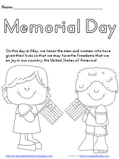 memorial day worksheets printable kids | Memorial Day {FREEBIE!}: