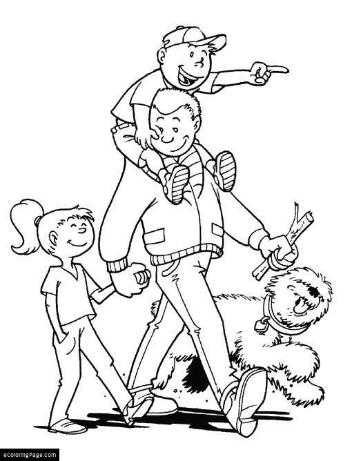 Happy Fathers Day Son Daughter And Dog Walking With Dad Coloring Page For Kids Printable Fathers Day Coloring Page Coloring Pages People Coloring Pages