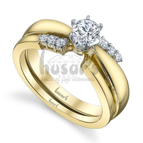 Yellow Gold Diamond Solitaire Engagement Ring With Wedding Band Wrap