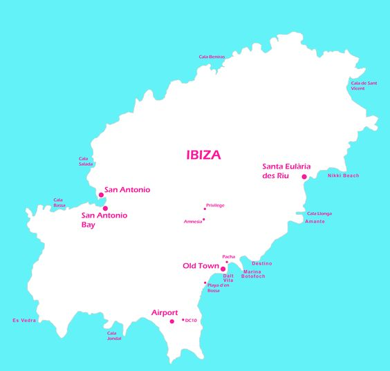 Useful map showing some key sites in Ibiza