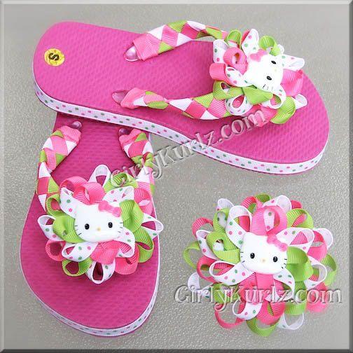 Pink Hello Kitty Woven Flip Flops Kid Flip Flops by GirlyKurlz, $25.00