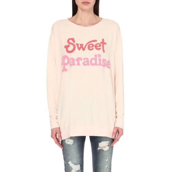 WILDFOX Sweet Paradise jersey sweatshirt ($155) ❤ liked on Polyvore featuring tops, hoodies, sweatshirts, chapstick, wildfox, long sleeve jersey, long sleeve tops, long sleeve sweatshirt and pink sweatshirts
