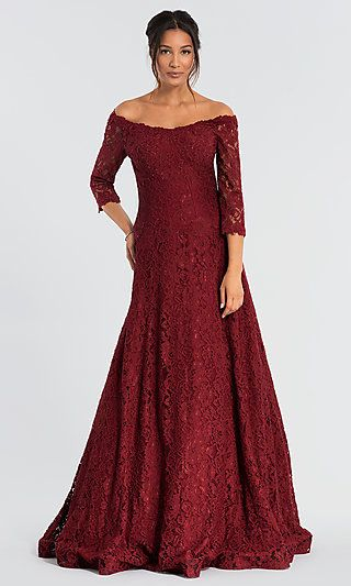 Burgundy Red Jovani Lace Mother-of-the-Bride Dress