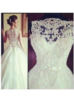 Elegant Tulle & Lace Bateau Neckline Natural Waistline A-line Wedding Dress With Embroidery