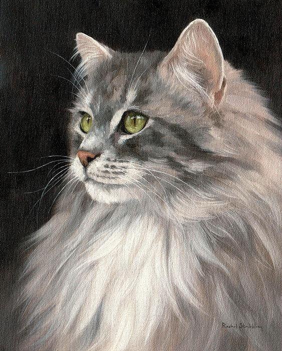 Cat Portrait Painting Print By Rachel Stribbling. Pet Portrait Art / Animal Art.