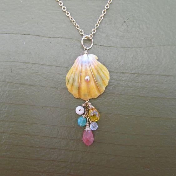 Unique Beaded Periwinkle Seashell Coloring Page: Sunrise Shell Necklace, Hawaiian Shells, Puka Shell, Shell