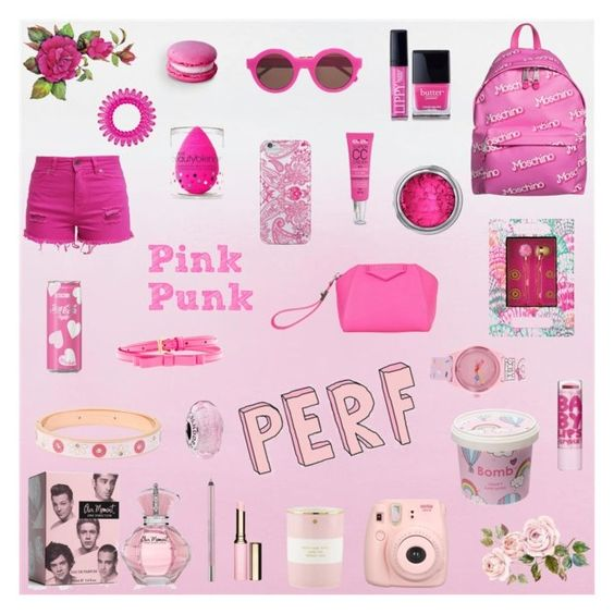 """""""Pink is the new black"""" by anastasiaali ❤ liked on Polyvore featuring Preen, Moschino, Butter London, Lilly Pulitzer, Nanette Lepore, Benetton, Cloud 9, Urban Decay, Clarins and beautyblender"""