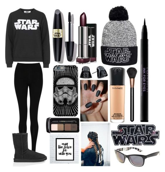"""Star Wars Movie Themed Outfit"" by urbanndiamonds ❤ liked on Polyvore featuring Max Factor, Tee and Cake, M&S Collection, UGG Australia, MAC Cosmetics, Urban Decay, starwars and maytheforcebewithyou"
