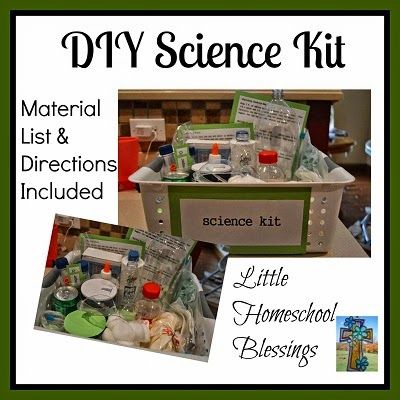 Little Homeschool Blessings: DIY Homemade Science Kit; a fun science kit with loads of experiments; a detailed list of supplies and directions are included