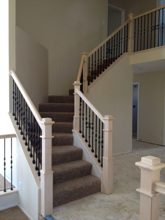Basement Stairs With Iron Balusters White Posts Google