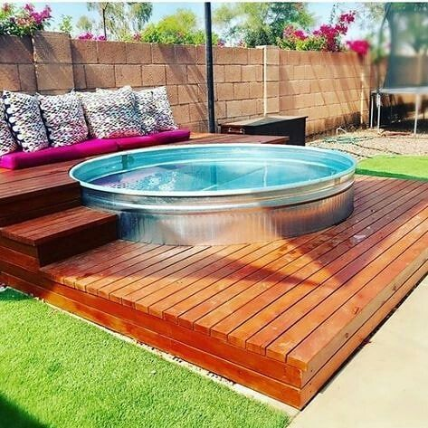 Inspirational Monday Stock Tank Pool Made Out Of Galvanised Visit Link Below For Some Ideas 7 Stock Tank Pool Diy Diy Swimming Pool Tank Swimming Pool