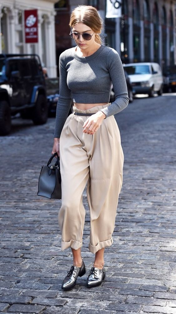 Tall-Girl Tip: Rock one voluminous piece at a time like Gigi Hadid's pants here: