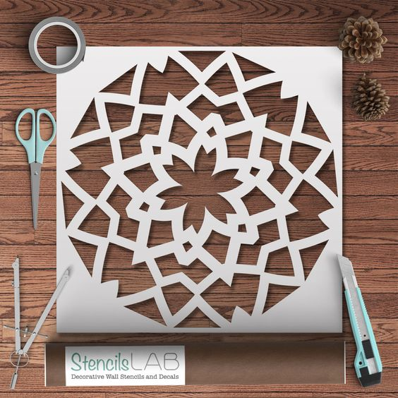 Mandala style stencil for painting geometric pattern - Plantilla mandala pared ...