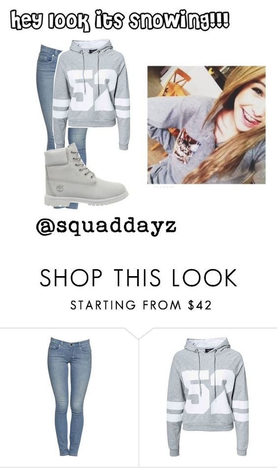 """""""hey look its snowing"""" by squaddayz ❤ liked on Polyvore featuring Sisters Point, Timberland and Brinley Co"""