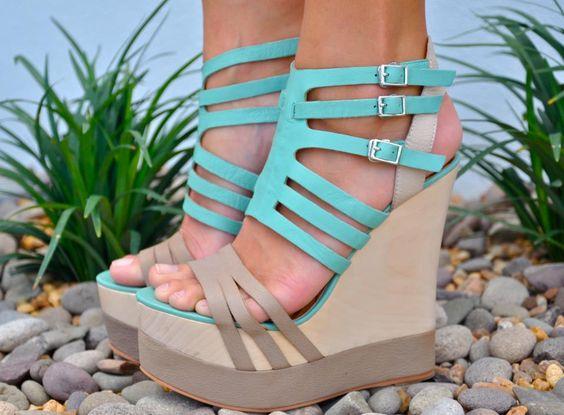 Matiko haruka high platform wedge blue beige strappy gladiator leather sandals