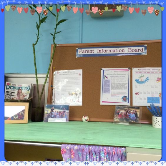 Parent information board for parents to keep up with what is going on in the classroom. Add calendar, newsletter, and daily schedule along with food menus. Parenting magazines are also available.