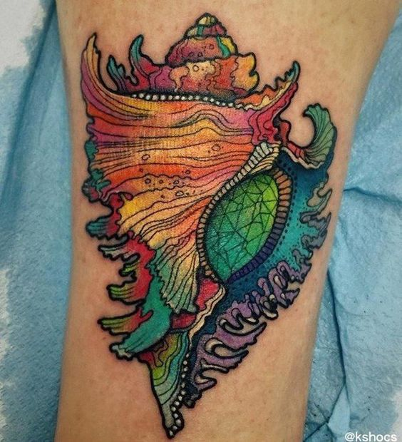 shell  tattoo - 40 Shell Tattoos Make You Wonder Sea Life  <3 !