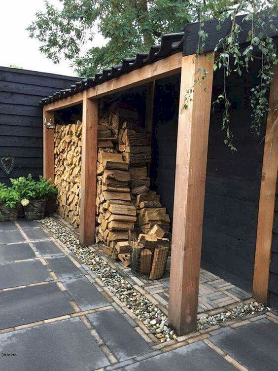 Firewood storage with slanted design of the roof#fireWoodStorage #firewoodrack #firewood #firewoodideas #organization #shed