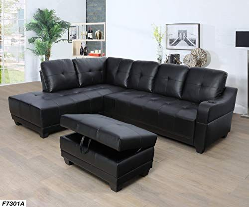 Lifestyle Furniture Left Facing 3pc Sectional Sofa Set Faux Leather Black Ls7301a Furniture Sectional Sofa Couch Sectional Sofa